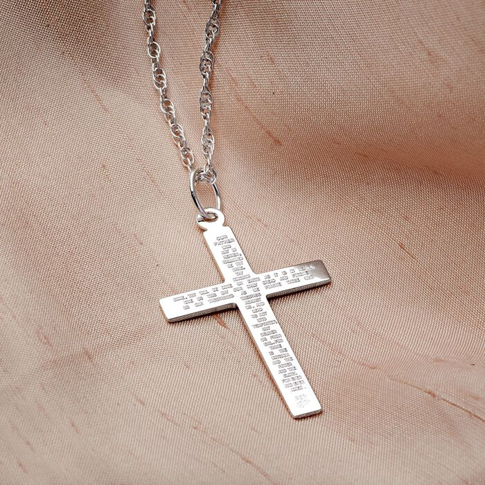 Men's Sterling Silver Lord's Prayer Reversible Cross Pendant Necklace