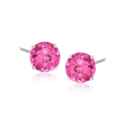 4.50 ct. t.w. Pink Topaz Stud Earrings in 14kt White Gold, , default