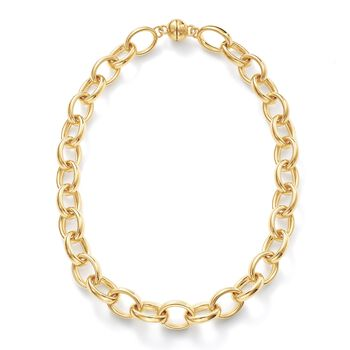 Andiamo 14kt Yellow Gold Puffed Link Necklace, , default