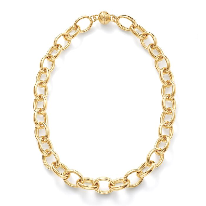 Andiamo 14kt Yellow Gold Puffed Link Necklace