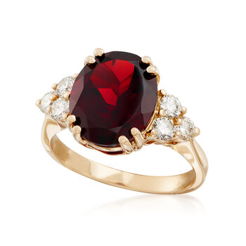 5.50 Carat Garnet and .55 ct. t.w. Diamond Ring in 14kt Yellow Gold, , default