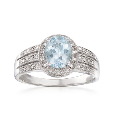 1.50 Carat Aquamarine Ring with Diamond Accents in Sterling Silver, , default