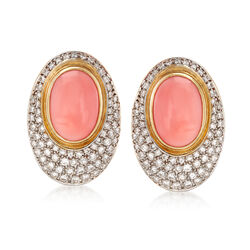 C. 1980 Vintage Orange Coral and 3.75 ct. t.w. Diamond Oval Earrings in 18kt Gold , , default