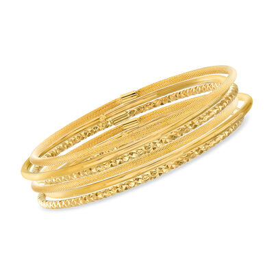 Italian 14kt Yellow Gold Multi-Finish Jewelry Set: Six Bangle Bracelets