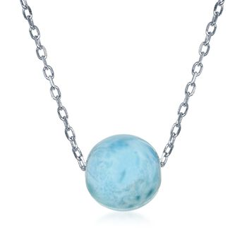 "10mm Larimar Bead Necklace in Sterling Silver. 16.5"", , default"
