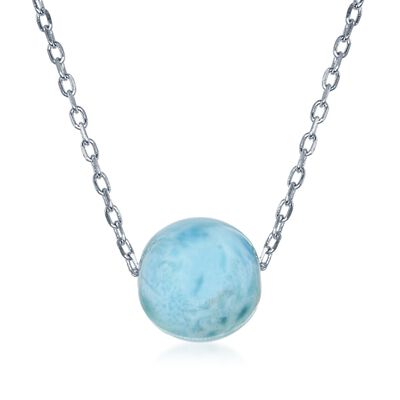 10mm Larimar Bead Necklace in Sterling Silver, , default