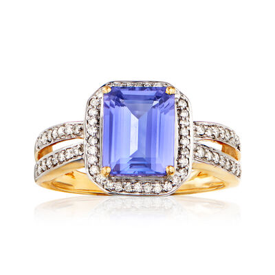 2.30 Carat Tanzanite and .26 ct. t.w. Diamond Ring in 14kt Yellow Gold