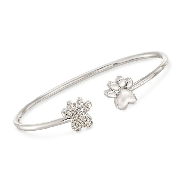 ".15 ct. t.w. Diamond Double Paw Print Open Cuff Bangle Bracelet in Sterling Silver. 7.5"", , default"