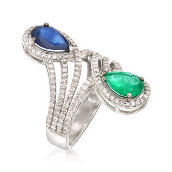 1.30 Carat Sapphire and 1.10 Carat Emerald Bypass Ring with .96 ct. t.w. Diamonds in 18kt White Gold, , default