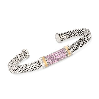 "Phillip Gavriel ""Popcorn"" .84 ct. t.w. Pink Sapphire Cuff Bracelet in Sterling Silver and 18kt Gold, , default"