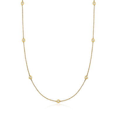 C. 1980 Vintage 1.20 ct. t.w. Diamond Station Necklace in 14kt Yellow Gold, , default