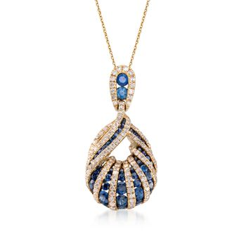 "1.10 ct. t.w. Sapphire and .70 ct. t.w. Diamond Teardrop Pendant Necklace in 18kt Yellow Gold. 18"", , default"