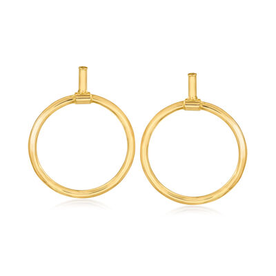 Italian 14kt Yellow Gold Open-Circle Drop Earrings, , default