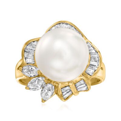 C. 1990 Vintage 10.5mm Cultured Pearl and 1.00 ct. t.w. Diamond Ring in 18kt Yellow Gold