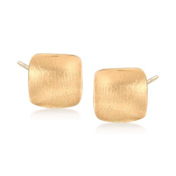 Italian 14kt Yellow Gold Brushed Square Stud Earrings, , default
