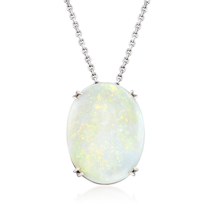 C. 1970 Vintage Opal Pendant Necklace in Platinum and 14kt White Gold