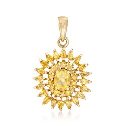3.30 ct. t.w. Citrine Sunburst Pendant With White Topaz Accents in 14kt Gold Over Sterling , , default