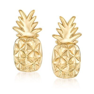14kt Yellow Gold Pineapple Earrings, , default