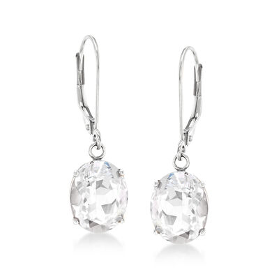 7.00 ct. t.w. White Topaz Drop Earrings in 14kt White Gold, , default