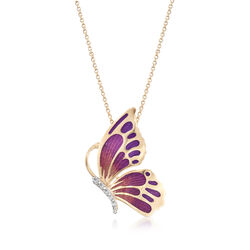 Italian Purple Enamel Butterfly Necklace With CZ Accents in 18kt Gold, , default