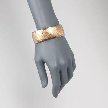 """C. 1940 Vintage 18kt Tri-Colored Gold Wide Florentine-Finished Bracelet. 8"""", , default"""