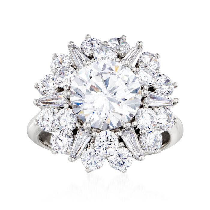 5.00 ct. t.w. CZ Starburst Ring in Sterling Silver