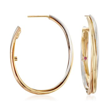 "Roberto Coin 18kt Tri-Colored Gold Oval Hoop Earrings. 1 1/2"", , default"
