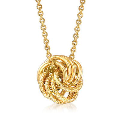Italian 14kt Yellow Gold Love Knot Necklace, , default