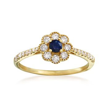 .10 ct. t.w. Sapphire and .38 ct. t.w. Diamond Ring in 14kt Yellow Gold, , default