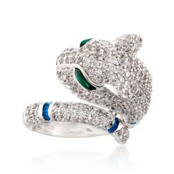 4.00 ct. t.w. CZ and Simulated Multi-Stone Panther Ring in Sterling Silver, , default