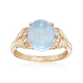 Opal Ring With Diamond Accents in 18kt Yellow Gold, , default