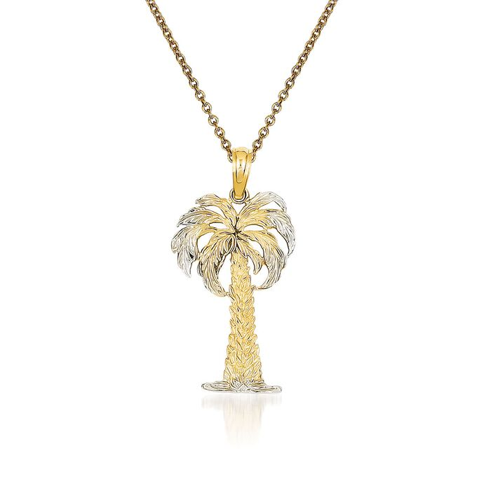 14kt Yellow Gold Palm Tree Pendant Necklace. 18""