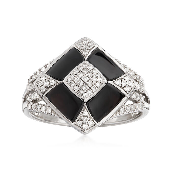 6x3mm Black Agate and .25 ct. t.w. Diamond Ring in Sterling Silver