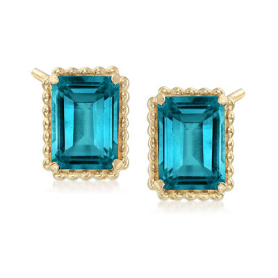 4.00 ct. t.w. London Blue Topaz and 14kt Yellow Gold Beaded Frame Earrings