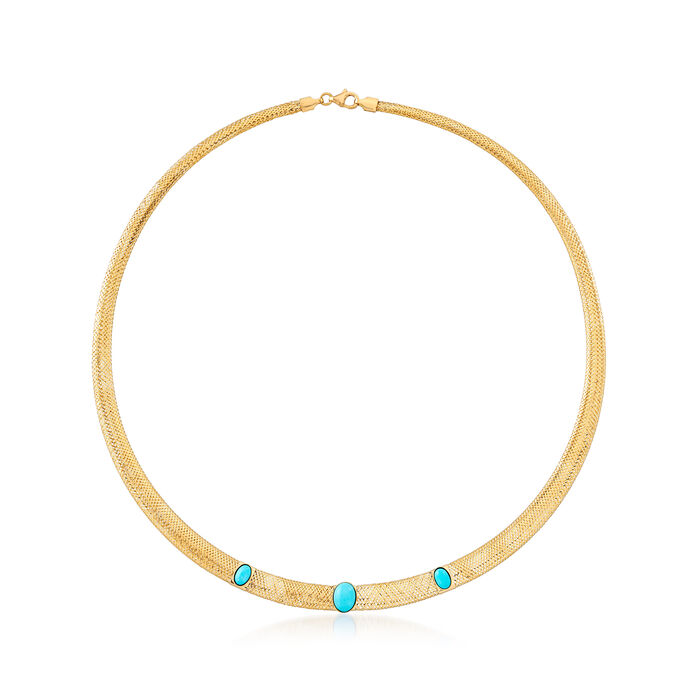 Italian Turquoise Mesh Necklace in 14kt Yellow Gold