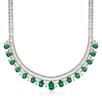 """C. 1980 Vintage 20.50 ct. t.w. Emerald and 6.25 ct. t.w. Diamond Necklace in 18kt White Gold. 15"""", , default"""