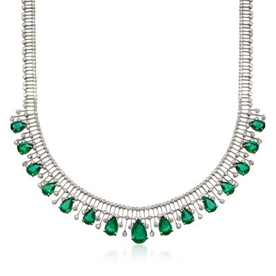 C. 1980 Vintage 20.50 ct. t.w. Emerald and 6.25 ct. t.w. Diamond Necklace in 18kt White Gold, , default