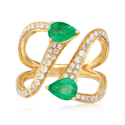 1.20 ct. t.w. Emerald and .55 ct. t.w. Diamond Bypass Ring in 18kt Yellow Gold