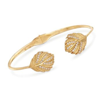 "Italian .44 ct. t.w. CZ Leaves Open Bangle Bracelet in 18kt Gold Over Sterling Silver. 7"", , default"