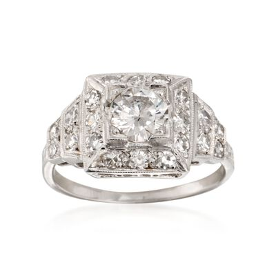 C. 1990 Vintage 1.20 ct. t.w. Certified Diamond Ring in Platinum