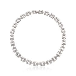 "Roberto Coin ""Retro"" 1.75 ct. t.w. Diamond Collar Link Necklace in 18kt White Gold. 17"", , default"