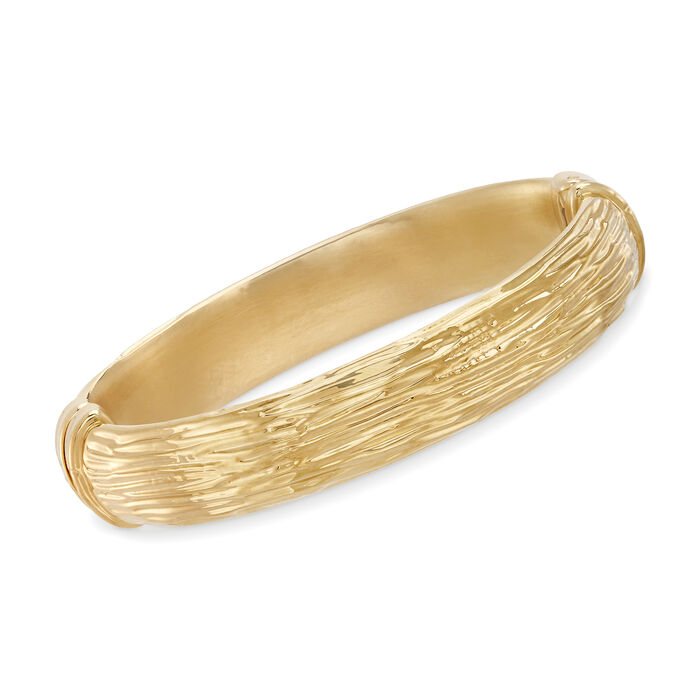 Italian Andiamo 14kt Yellow Gold Textured Bangle Bracelet