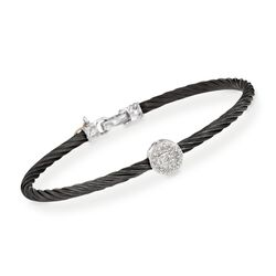 "ALOR ""Noir"" Black Cable Station Bracelet With Diamond Accent and 18kt White Gold. 7"", , default"