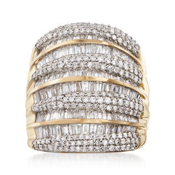 3.00 ct. t.w. Baguette and Round Diamond Multi-Row Ring in 14kt Yellow Gold, , default