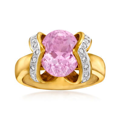 C. 1990 Vintage 4.40 Carat Pink Tourmaline and .25 ct. t.w. Diamond Ring in 14kt Yellow Gold, , default