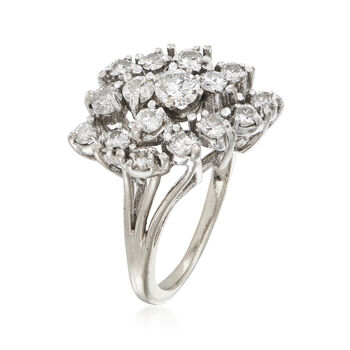 C. 1980 Vintage 1.05 ct. t.w. Diamond Cluster Ring in 14kt White Gold. Size 5.25