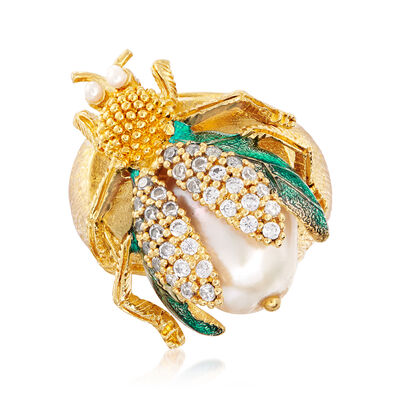 Italian 2mm-16x12mm Cultured Pearl and .10 ct. t.w. CZ Fly Ring with Blue Enamel in 18kt Gold Over Sterling, , default