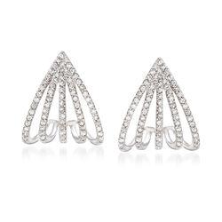 .42 ct. t.w. Diamond Multi-Row Huggie Hoops in 14kt White Gold , , default
