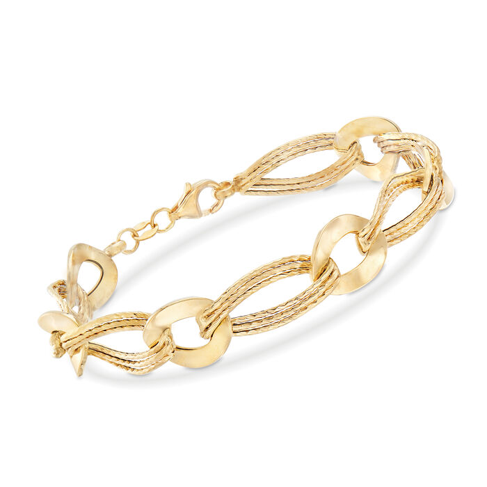 """Italian 18kt Yellow Gold Oval and Twisted Link Bracelet. 7.5"""", , default"""