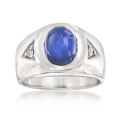 C. 1970 Vintage Synthetic Star Sapphire Ring in 14kt White Gold With Diamond Accents, , default